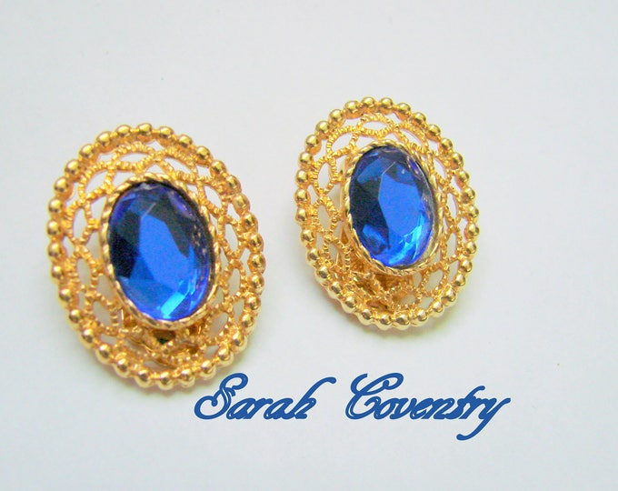 Vintage Sarah Coventry Sapphire Blue Earrings / Designer Signed / Clip Earrings / Textured Goldtone / Jewelry / Jewellery