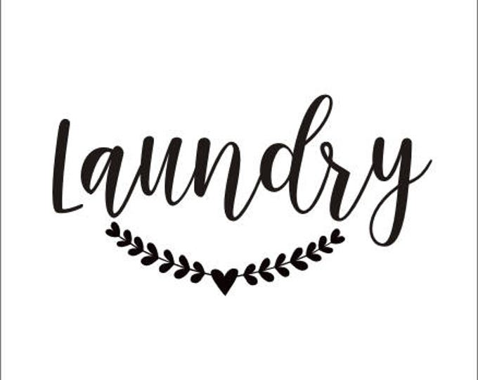 Laundry Wall Decal Door Vinyl Decal Laundry with Laurel Rustic Handwritten Laundry Room Decal Farmhouse Style Decor