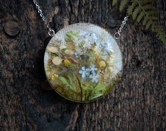 Flowers art necklace   Real flowers jewelry   Flowers necklace   Herbarium necklace   Flowers gift for her   Nature inspired jewelry gift