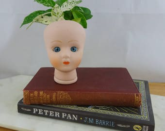Vintage Porcelain Bisque Baby Doll Head with Blue Glass Eyes