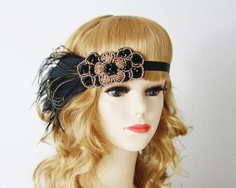 Great Gatsby Headband - Black Beaded Feather Hairpiece Headpiece  - 20's 1920 Inspired Art Deco Flapper Head Band