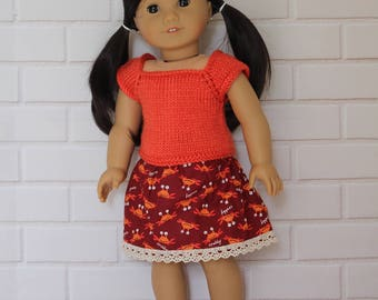 """Burnt Orange Knitted Top Maroon Red Crabby Skirt - Dolls clothes to fit 20"""" Australian Girl dolls & 18"""" American Girl type dolls"""
