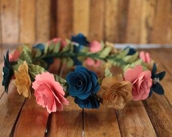 Navy, Coral, Gold  Flower Crown, Boho Crown, Wedding Crown, Flower Girl Crown, Birthday Crown, Paper Headdress, Wooden Flowers Crown