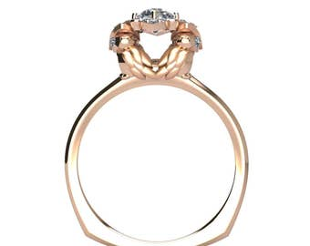 14k Rose Gold Owl Engagement Ring with .30ct (4mm-4.2mm) Center Diamond