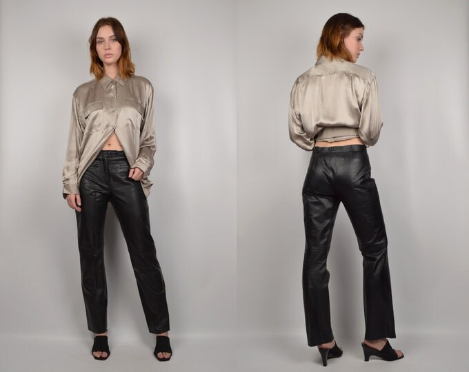 Black Leather Vintage Straight Leg Pants