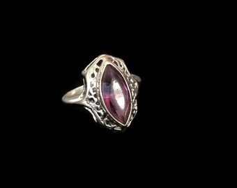 Art Deco Amethyst Ring, Sterling Silver, Size 5.75, February Birthstone Valentine's Day Gift