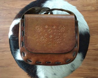Tooled Leather Purse Vintage Saddle Bag