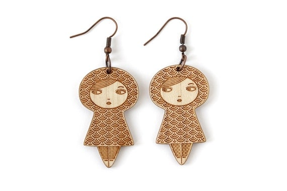 Doll earrings with seikaiha pattern - graphic matriochka jewelry - kawaii kokeshi jewellery - japanese cute earrings - lasercut maple wood