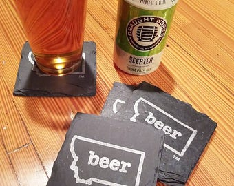 Montana Craft Beer Tent Slate Coasters - Mancave, Garage, Fathers Day, Beer Lover, Mens Gift