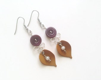 50% OFF - Botanical earrings - Recycled button jewelry - Purple and kaki leaf jewelry - Stainless Steel - Made in Quebec
