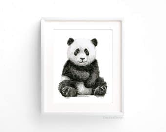 Baby Panda Watercolor Panda Art Print Panda Nursery Wall Art Panda Decor Baby Animals Jungle Safari Animals Black and White Art Print