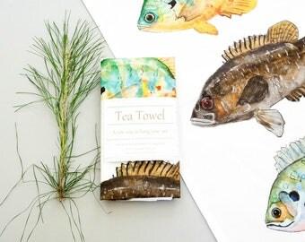 animal print Tea towel, hand painted watercolor art, fresh water fish, lake house decor, rustic decor, gift for him,  Kitchen decor