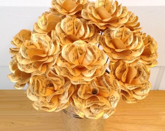 Gold 50th Anniversary 50th Birthday Decoration or Gift  Metallic Gold Paper Roses with Personalized Print  Wedding Shower  Set of 12