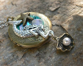 mermaid locket, mermaid necklace, mom,mothers day,siren necklace,cosplay necklace, photo locket,boho, photo pendant,festival, locket jewelry