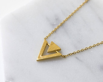 Triangle Necklace, 14K Gold Necklace, Gift For Best Friend, Layering Necklace, Gold Necklace, Delicate Gold Necklace, Dainty Necklace N389-G