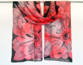 Coral scarf - red silk scarf - red chrysanthemum on black scarves - hand painted silk scarf - mums flower scarf - batik - rectangle - bold