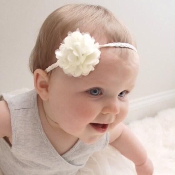 Baby Girl Headband, Ivory Headband, Flower Headband, Baby Headband, Braided Headband, Infant Headbands, Baby Accessories, Baptism Headband