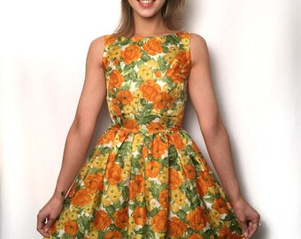 By the Rose Bush Susa dress UK size 6-8 Orange yellow green floral vintage style tea dress handmade by The Emperor's Old Clothes