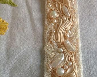 Ivory Shibori Ribbon Beaded Cuff Bracelet