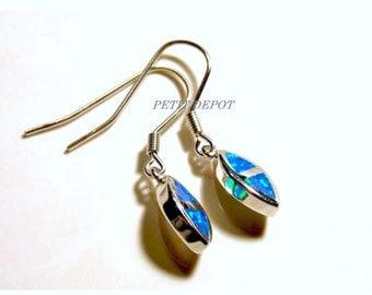Blue Opal Earrings Sterling Silver Blue Opal Drop Earrings Small Fire Opal Earrings Fire Blue Earrings Diamond Dangly