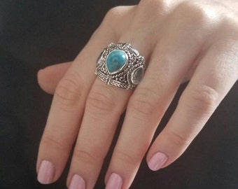 Large Bold Sterling Silver Blue Topaz & Reconstructed Turquoise Ornate Oxidized Braided Detailed Handmade Ring Size 7
