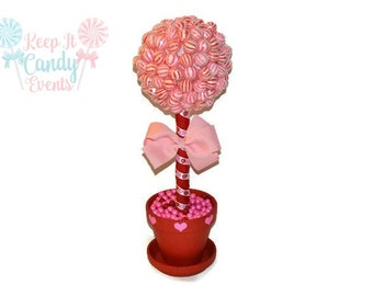Valentines Day Lollipop Topiary, Red, Pink, Candy Topiary, Wedding, Centerpiece, Candy Buffet, Lollipop, Candy, Valentines Day, Valentines