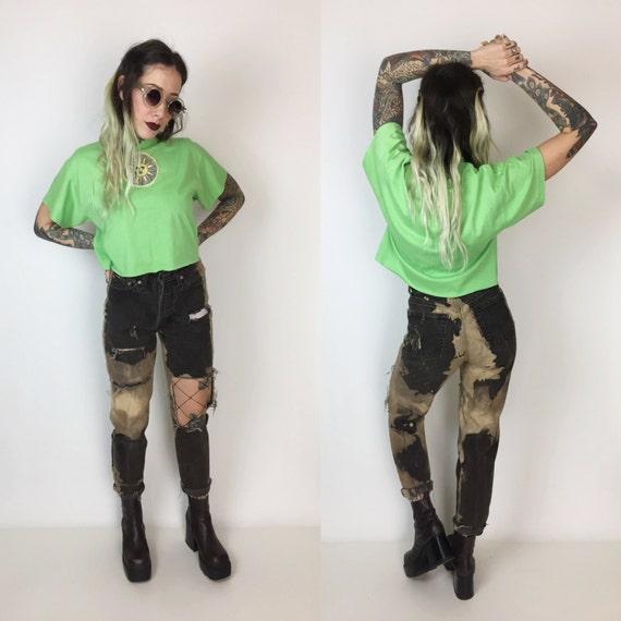 90's Levis High Waist Shredded Bleached Black Jeans 26 - Holey Distressed Black Brown Grunge Mom Jeans - Shredded Denim Step Hem Size 2/3