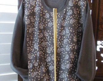 Charcoal Grey Sweatshirt Jacket enhanced with a Floral Print Fabric