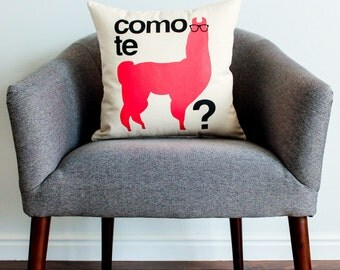 Como Te Llama? w/ a Llama Pillow - Home Decor, Spanish, Llama, Pillow, Pillow Cover, Gift for Her, Gift for Him, Grad Gift, Cushion Cover