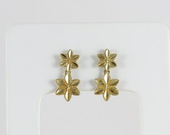 10k Yellow Gold Flower Earrings Dangle Drop