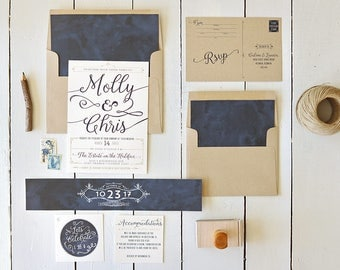Rustic Navy and Kraft Wedding Invitation Set - Country Wedding Invites - Wedding - Printable or Printed