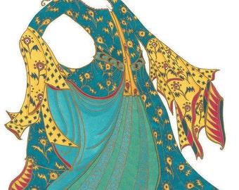 Turkish dancing girl A3 print