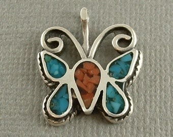 Vintage Native American Coral Turquoise NAVAJO Pendant BUTTERFLY Insect Pendant Charm Sterling Silver Mosaic Chip Inlay c.1970s