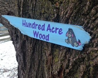 Hundred Acre Wood Distressed Wooden Directional Sign - Made to Order
