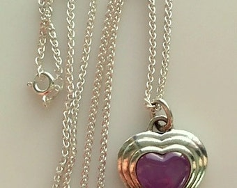 Vintage Sterling Silver and Purple Stone Heart Pendant/ Necklace