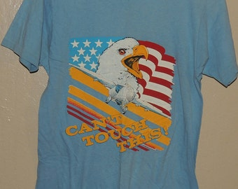 Cant Touch This Vintage American Flag Eagle Fighter Plane Blue Bantam T Shirt Medium