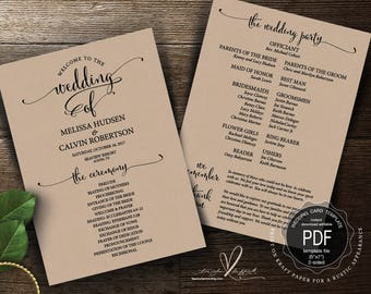 Wedding Program PDF card template, instant download editable printable, Ceremony order card in calligraphy rustic theme (TED340_13)