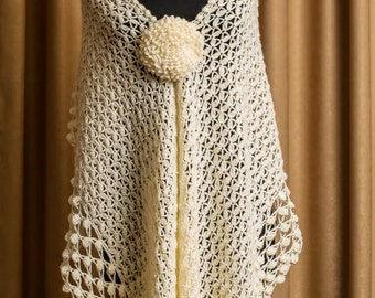 Bridal Shawl, Wedding Shawl, Cream Crochet shawl, Bridal Cover up, lace shawl, Unique Design, cream wrap shawl, handmade bridal Shrug