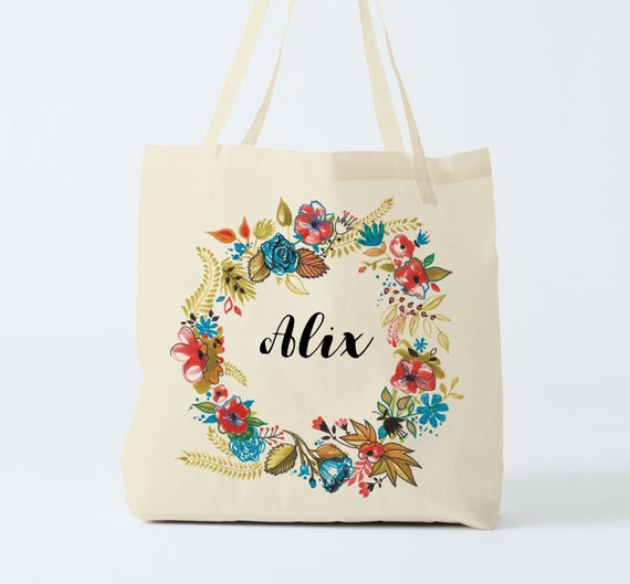 Tote Bag, Name on bag, custom tote, cotton bag, flowers Wreath, custom bag, groceries bag, novelty gift, gift sister, gift coworker.