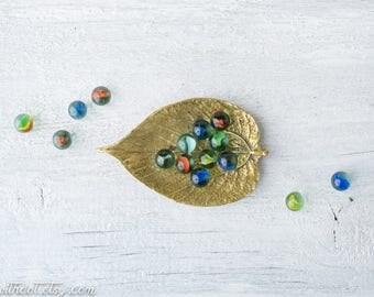Vintage Brass Leaf Trinket Dish - Brass Ring Dish - Gold Change Dish - Virginia MetalCrafters - Mulberry Leaf