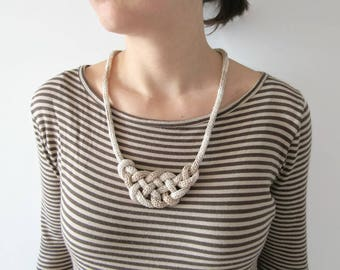 Statement beige necklace, Beige necklace, long horn knot jewelry, chain knit necklace, urban jewelry, textile necklace, knitted necklace