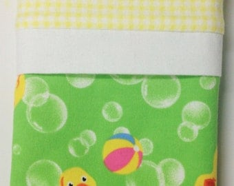 """Travel/Toddler Flannel PIllowcase - """"Rubber Ducky"""""""