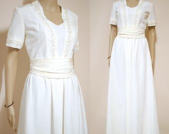 Vintage 60s White Wedding Dress Beaded Embroidered Boho Hippie Sash Long Length Retro Vtg 1960s Size XS-S