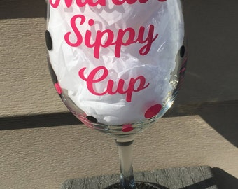 Nana's Sippy Cup Wine Glass, Grandma's Sippy Cup Wine Glass, New Grandma Gift, Nana Wine Glass, Grandma Wine Glass, Funny Wine Glass