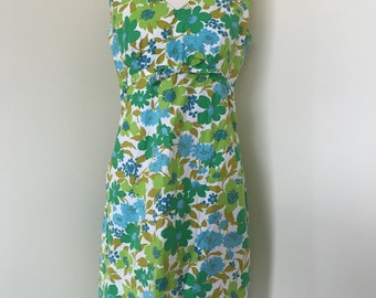 AS IS Green and Blue 60s Floral Shift Dress with Empire Waist
