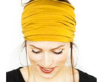 Yellow HeadWrap - Mustard Yellow Yoga Headband Wide Headband Workout Headband Boho Headband Running Headband Headbands Womens Headband