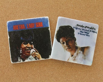 CLEARANCE! Aretha Franklin Album Covers - Set of 2 Tumbled Marble Tile Coasters