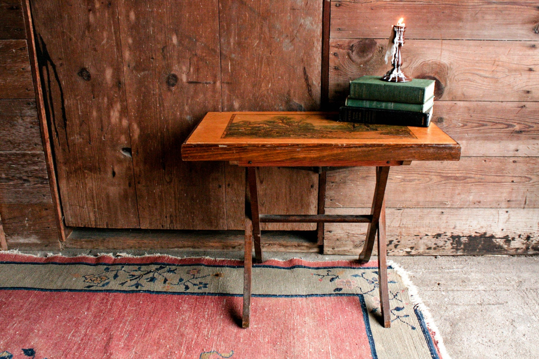 Vintage Wood Folding Table Rustic End Table Rustic Card