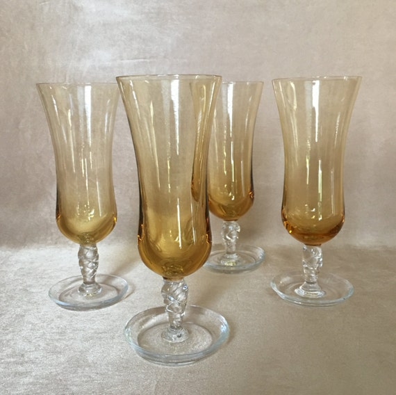 Champagne flutes amber flutes hand blown glass clear - Hand blown champagne flutes ...