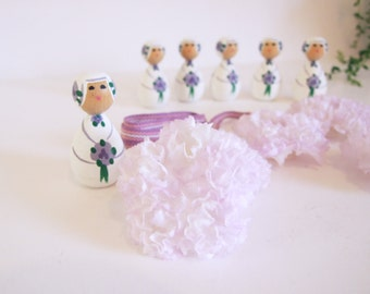 Swedish Folk Art dolls// Swedish Candelabra Set Deco // Mauve Set Dolls